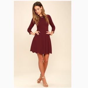 Lulus Scalloped 3/4 Sleeve Burgundy Dress Size S